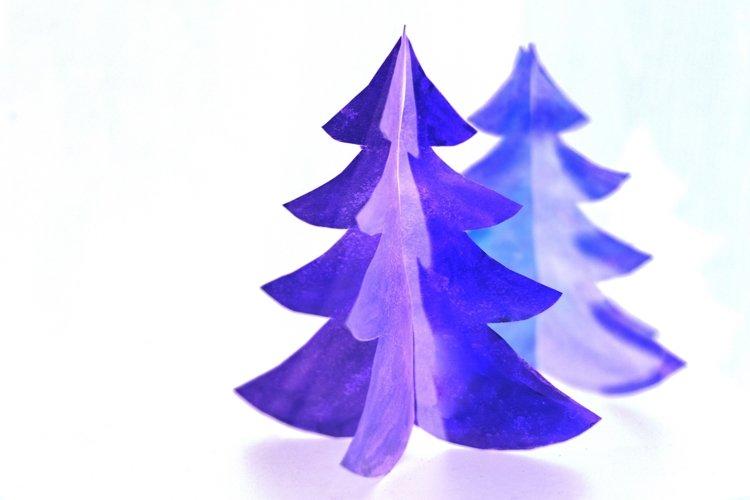Purple christmas tree made of paper