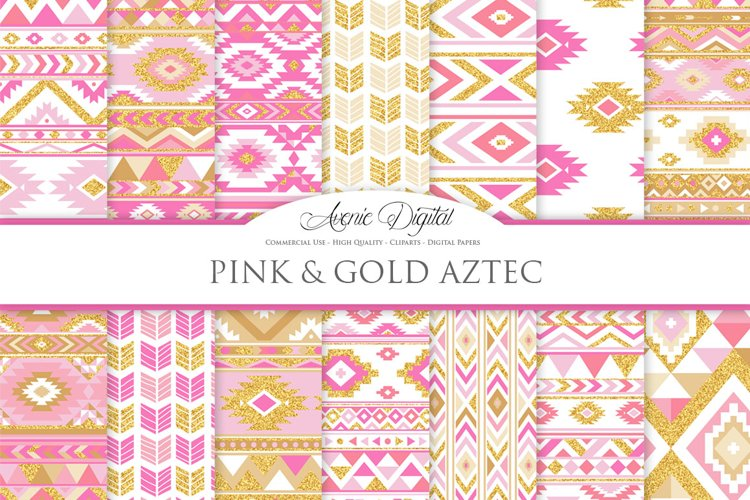 Pink and Gold Glitter Boho Seamless Patterns example image 1