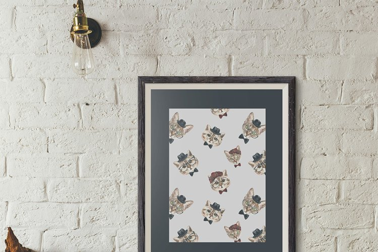 Cat watercolor patterns  - Free Design of The Week Design4