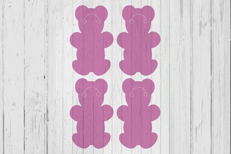 Teddy bear Keyring display card template svg dxf png ai file example image 1