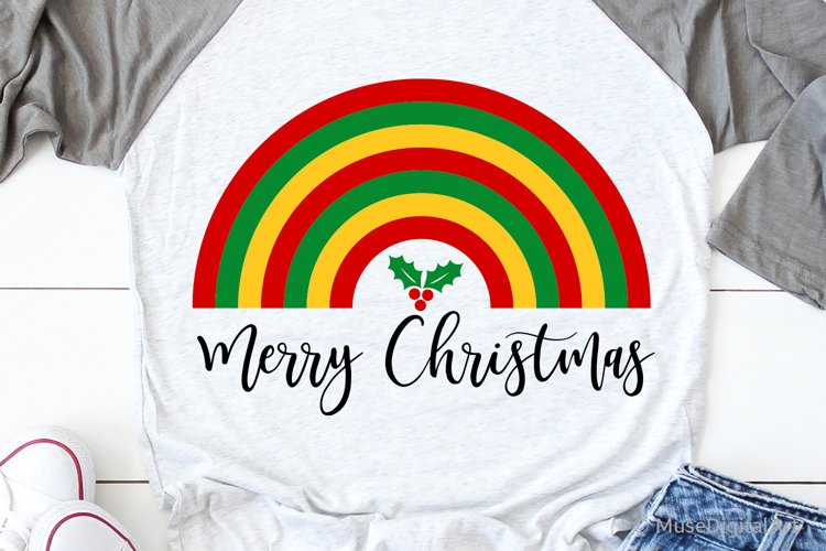 Merry Christmas Svg, Christmas Rainbow Svg Bundle, Kids Svg example image 1