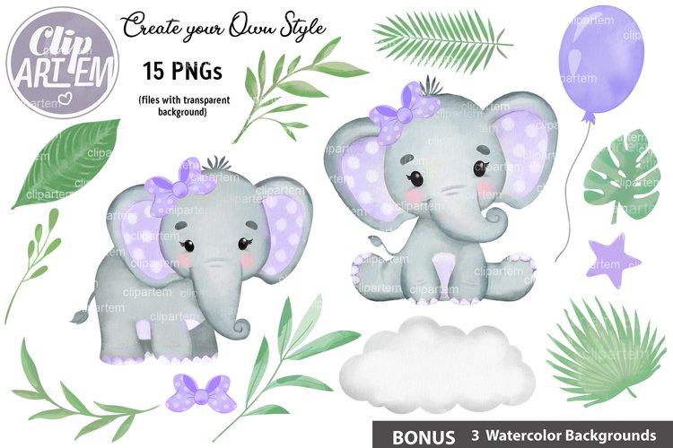 Purple Girl Elephant Greenery Clip Art 15 PNG images Bundle