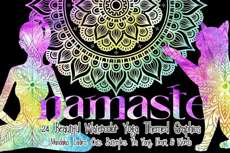 Yoga Themed - Watercolor Mandalas & Graphics PLUS Bonus