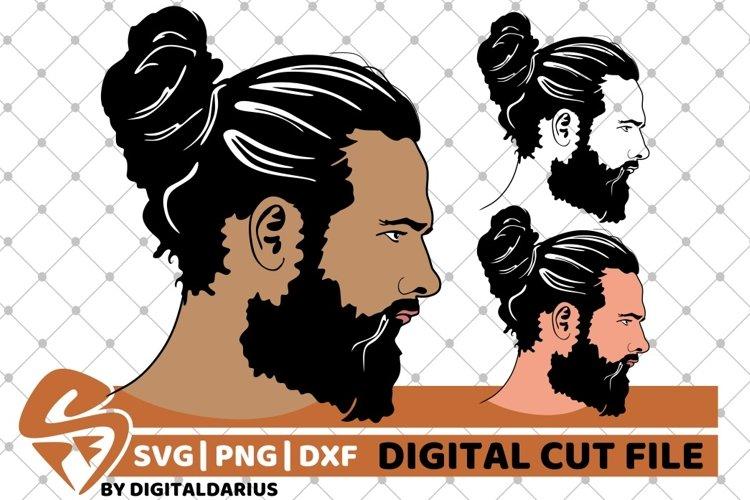 3x Man with Hair Bun svg, Face man svg, Hipster, Beard Man example image 1