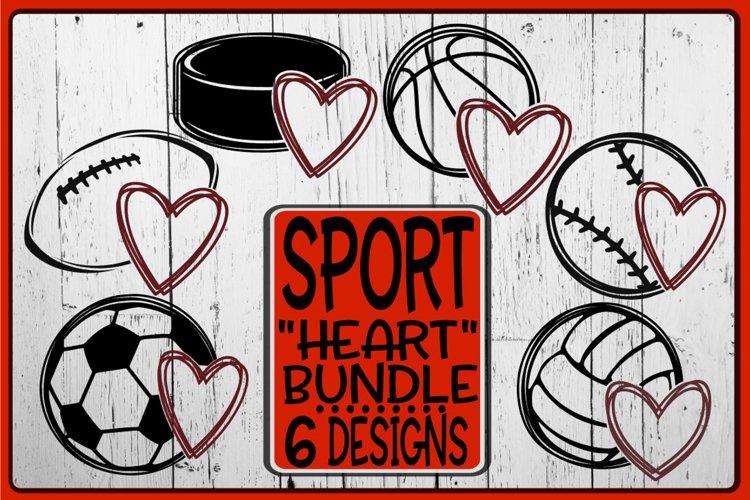 Sport Bundle - Heart - 6 Designs - SVG PNG EPS DXF example image 1