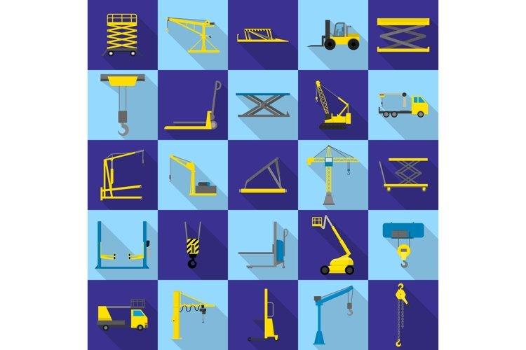 Lifting machine icons set, flat style example image 1