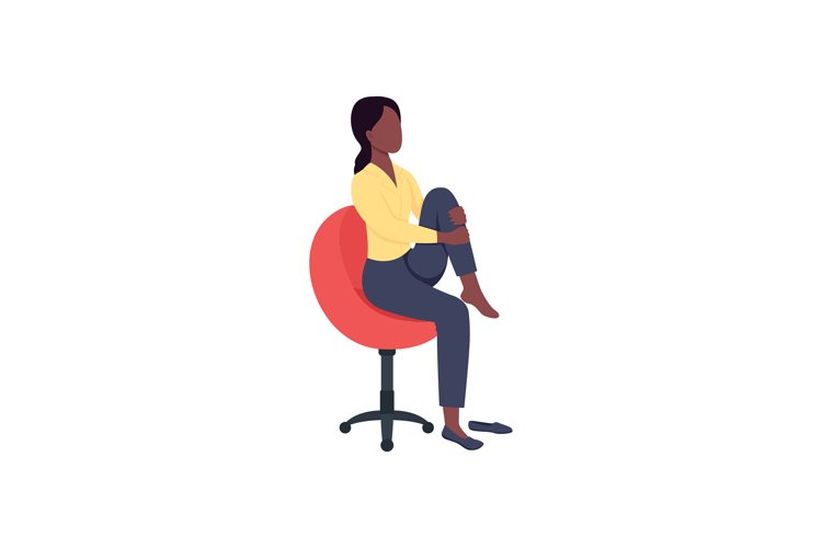 Woman in chair stretching leg flat color vector character example image 1