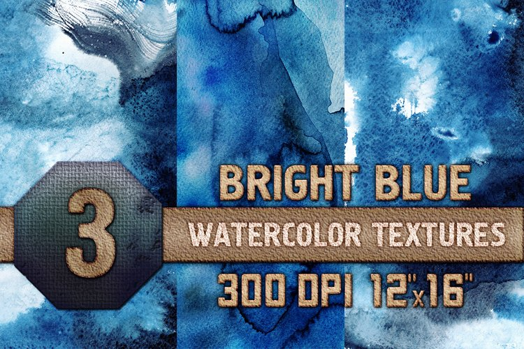 Bright Blue Watercolor Texture Digital Papers Scrapbooking example image 1