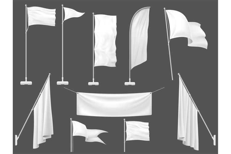 Mockup flag. White flags, blank canvas banner and fabric fla example image 1