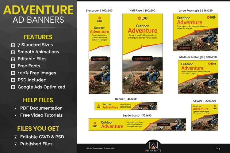 Adventure Camp Banner - Html5 Animated Template example image 1