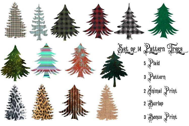 Pattern Christmas Tree Collection- Clipart Design Element example image 1