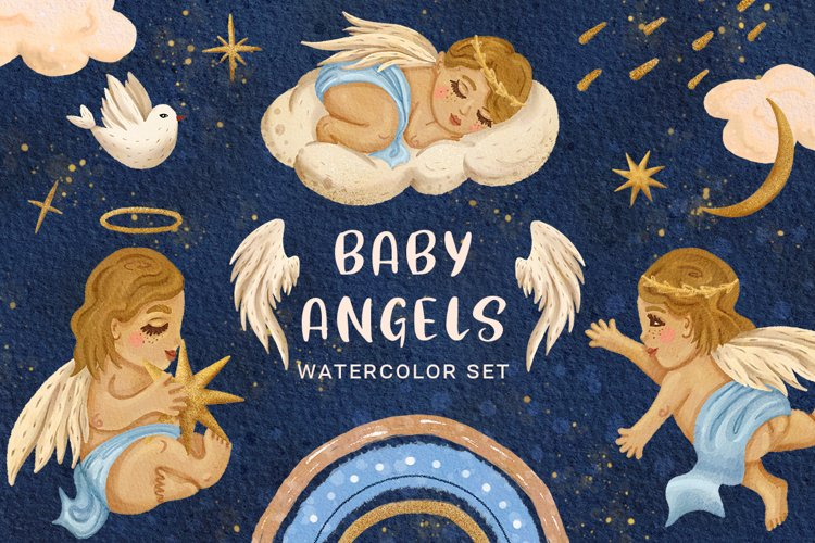 Baby Angels Watercolor Clipart