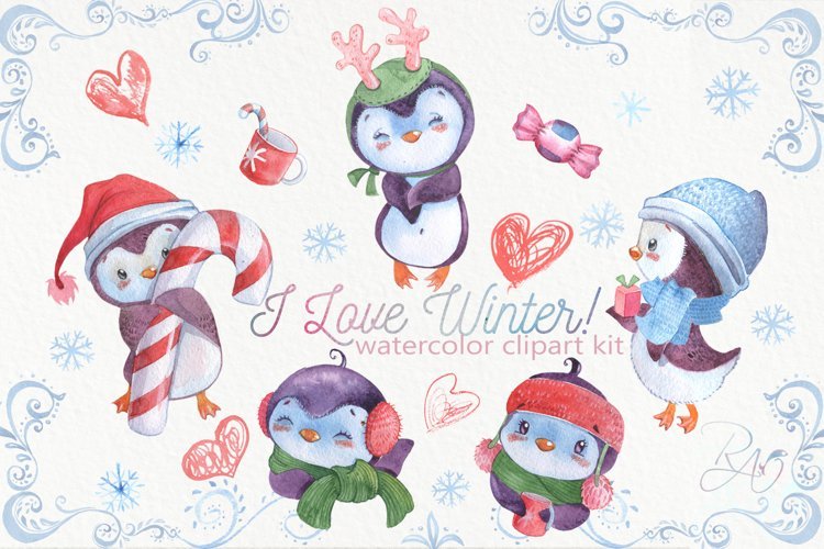 Cute watercolor Christmas penguins clipart example image 1