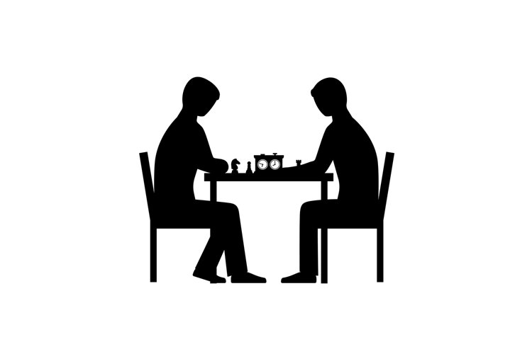 People playing chess vector silhouettes example image 1