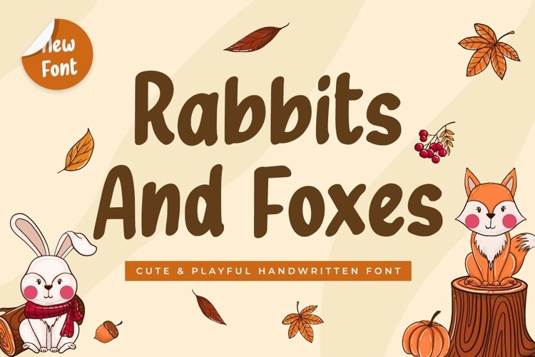 Cute Handwritten Font - Rabbits and Foxes example image 1