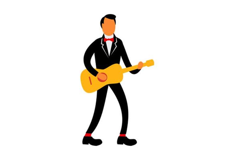 Guitarist in Tuxedo Playing Guitar Retro example image 1