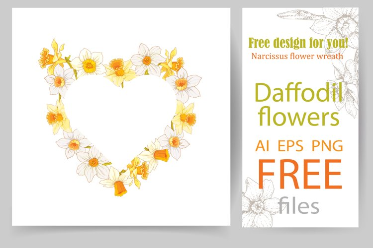 Heart-shaped daffodil wreath. Permanently free product.