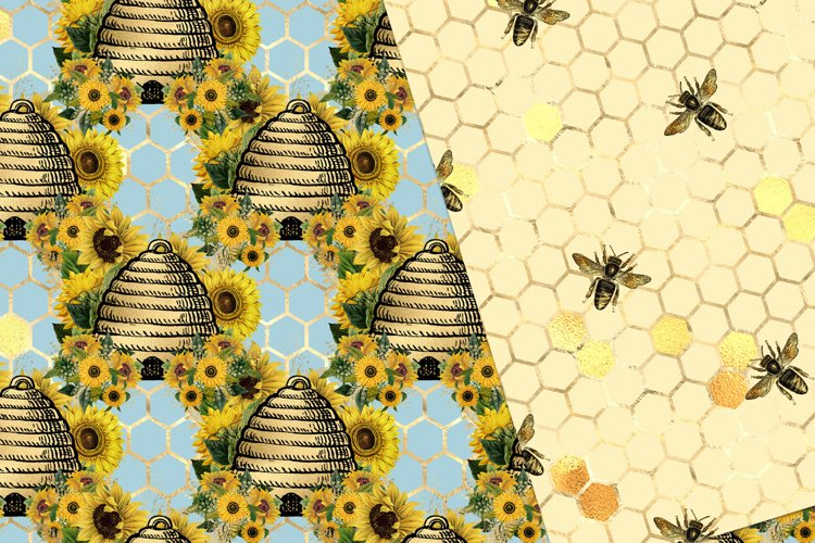 Sunflower Bees Digital Paper - Free Design of The Week Design3