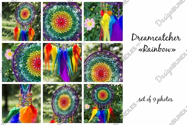 Dream catcher Rainbow with feathers and beads