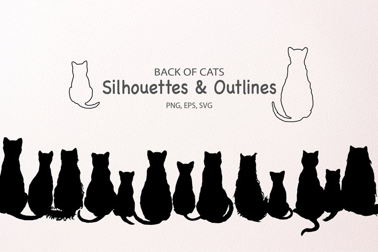 Cat SVG Silhouettes and Outlines, SVG EPS
