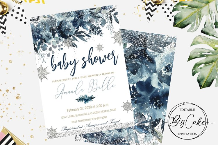 Baby Shower Blue Winter Invitation Boy Christmas example image 1