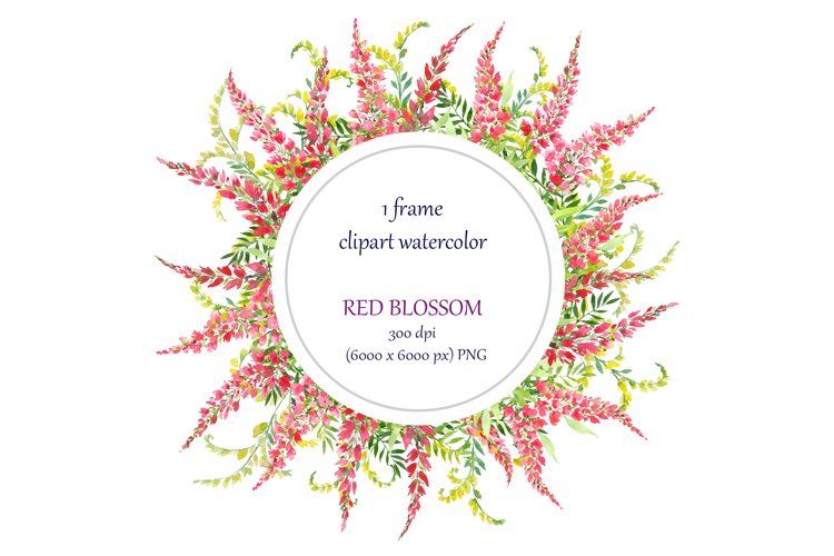 watercolor round frame, wreath with red flowers example image 1