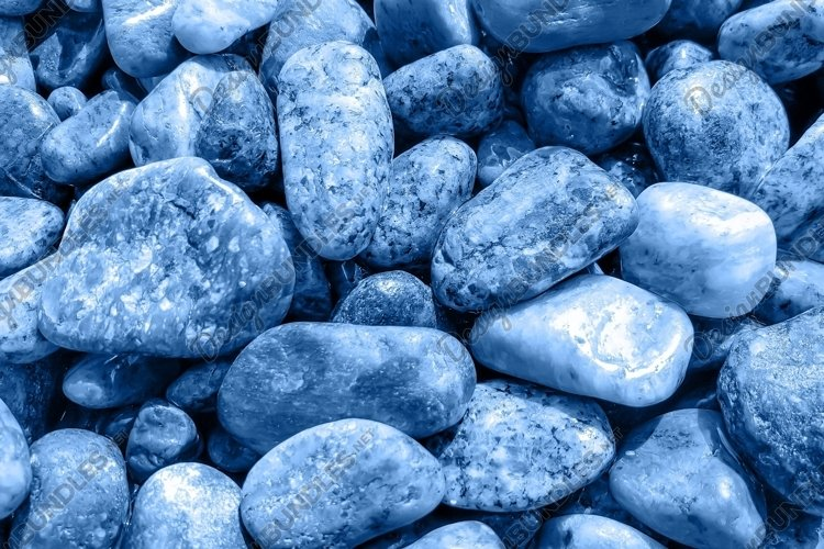 Wet sea pebbles toned in classic blue. Abstract texture example image 1