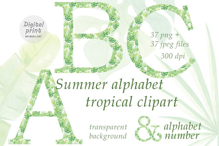 Tropical Alphabet Clipart Collection of Letters and numbers