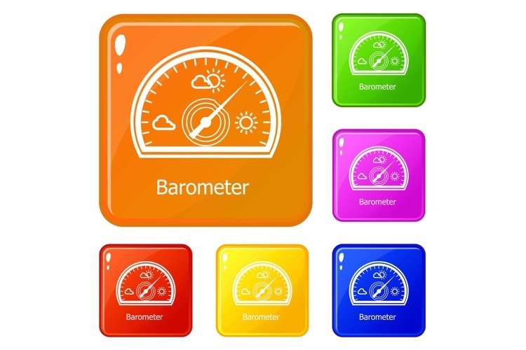 Barometer icons set vector color example image 1