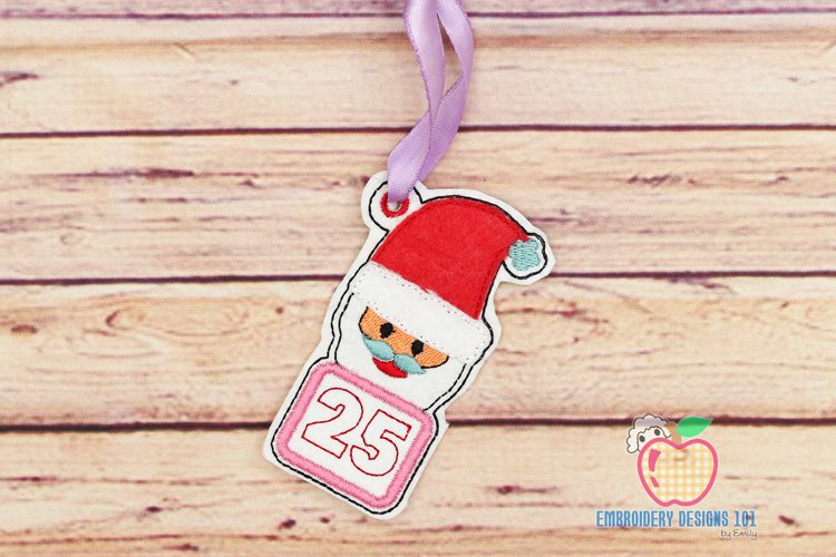 Christmas Calendar with Santa Claus In The Hoop Ornament