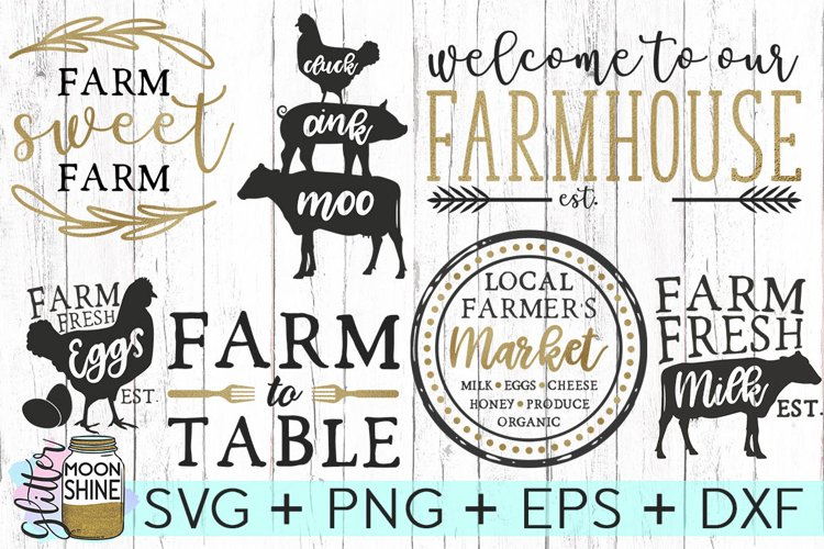 Farmhouse Bundle Set SVG DXF PNG EPS Cutting Files example image 1