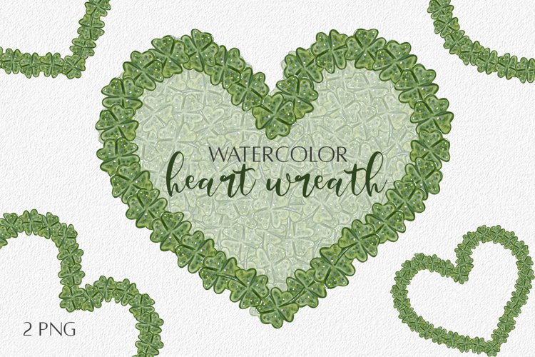 Watercolor Heart Frame with shamrock PNG. Sublimation Design