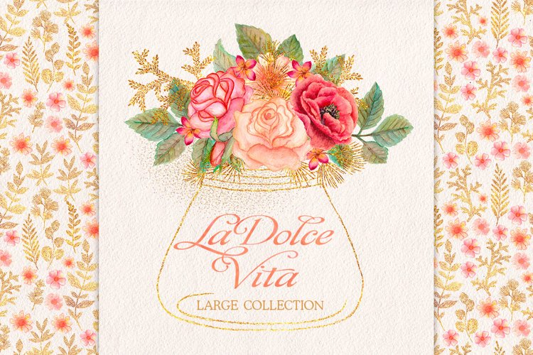 Watercolor glitter floral collection example image 1