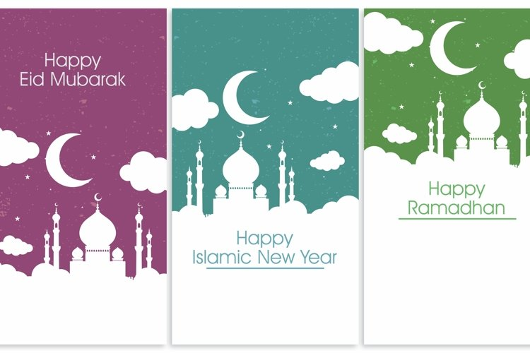 Islamic Vector Elements for Greeting Card. Mosque, Cloud, Stars and moon Illustration