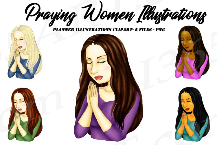 Praying Woman Religious Planner Illustrations Clipart PNG
