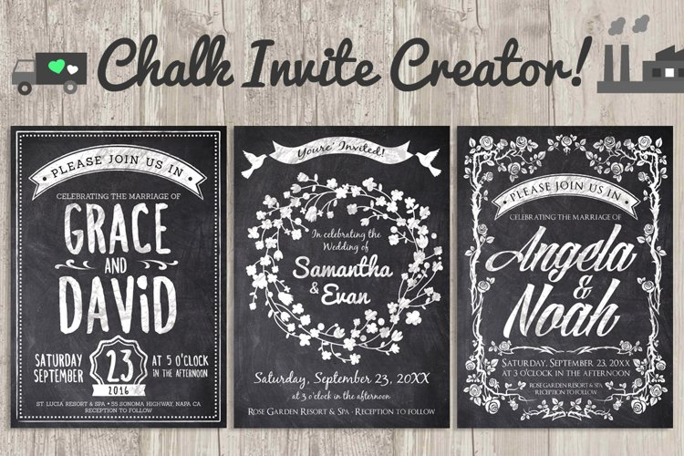 Chalk Invite Creator Bundle Wedding Save Date Vintage Event example image 1