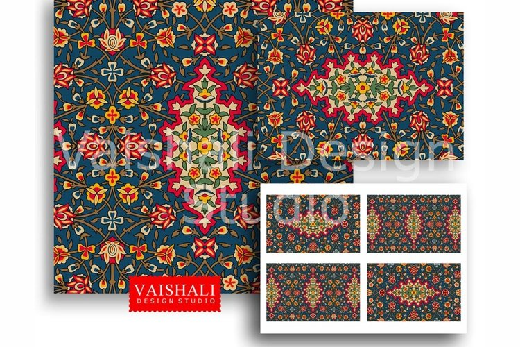 PERSIAN, rich jewel tone colours, 2 sheets, instant download