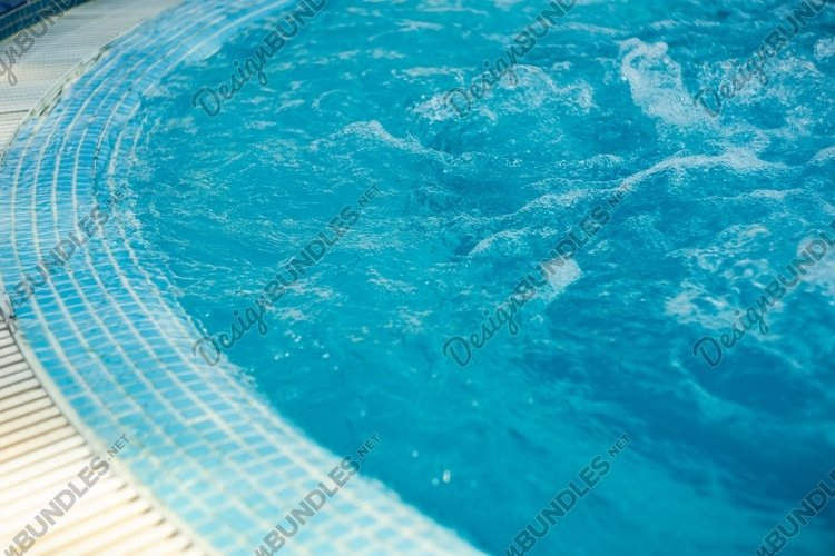 Summer rest concept with pool and water in sunny day example image 1