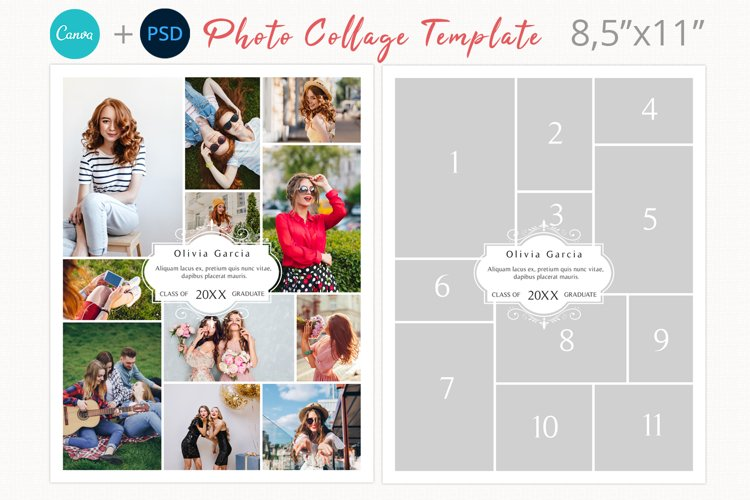 Letter size photography collage template, Yearbook