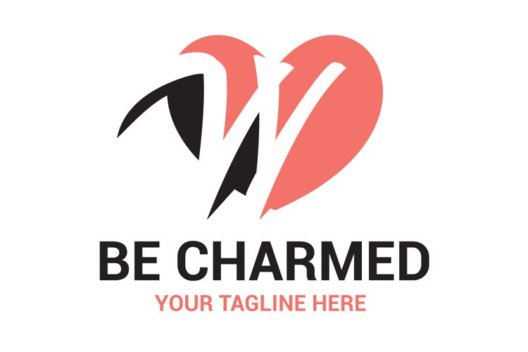 W Letter Heart logo Design example image 1