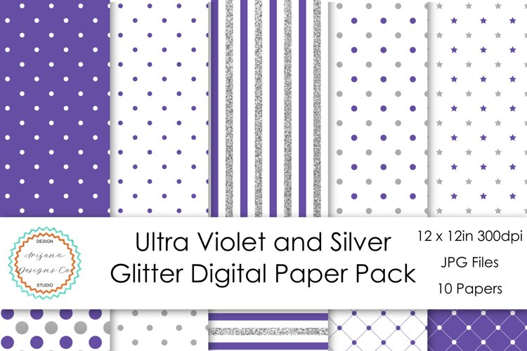 Ultra Violet and Silver Glitter Digital Paper Pack example image 1