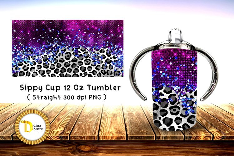 Sublimation Sippy Cup Tumbler leopard with purple foil example image 1