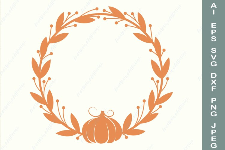 Fall wreath with pumpkin svg, Autumn circle frame svg example image 1