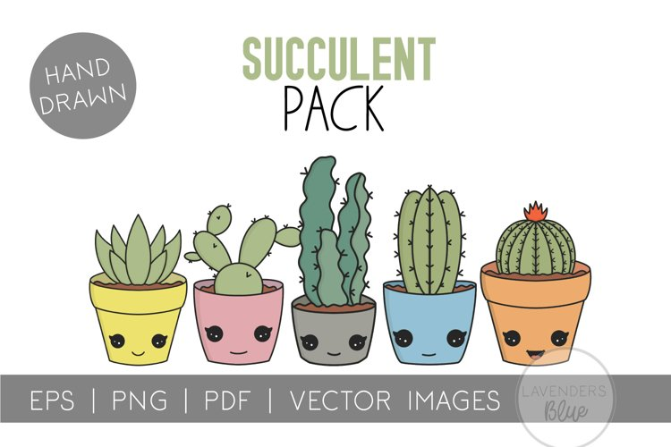 Succulent Pack | Vector succulents & Cactus Kawaii Images example image 1