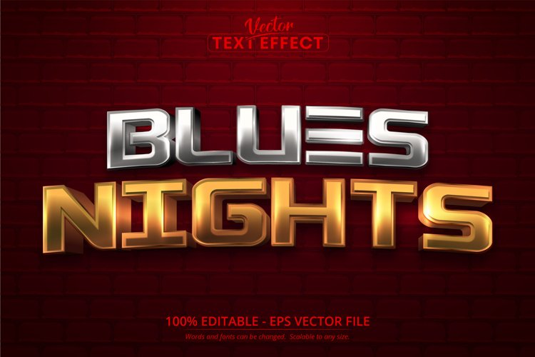 Blues nights text, shiny gold and silver color text effect