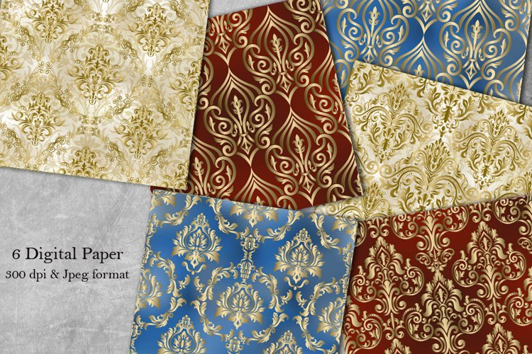 Victorian damask seamless pattern. Collection of papers example image 1