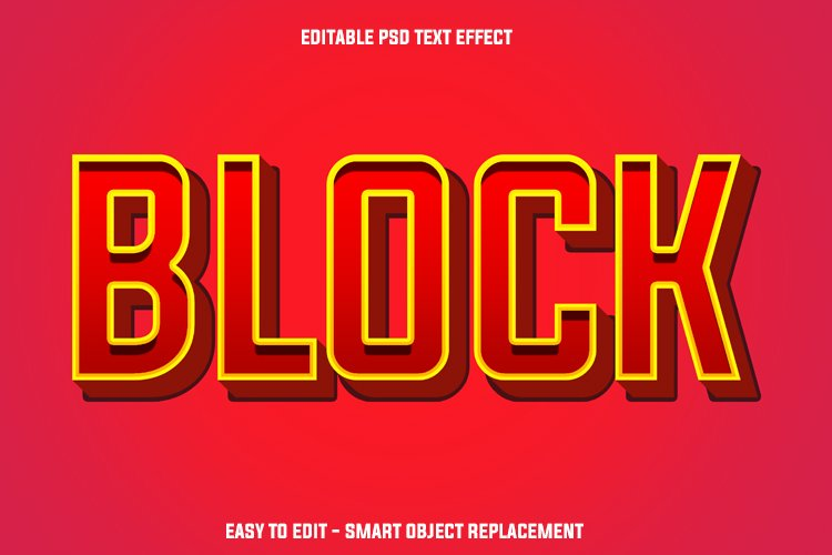 red block text effect example image 1