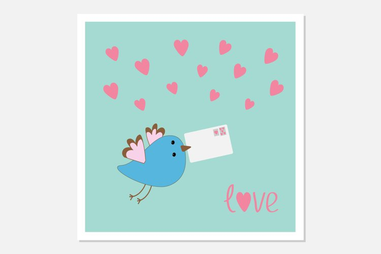 Flying bird with letter and hearts example image 1