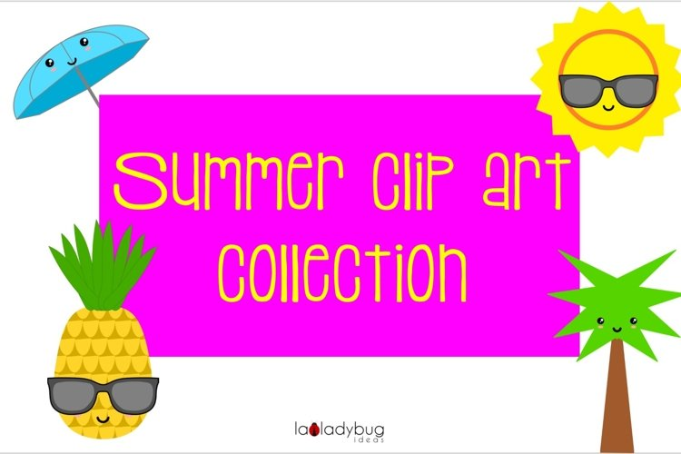 Summer clip art collection. 30 elements. Kawaii style. example image 1