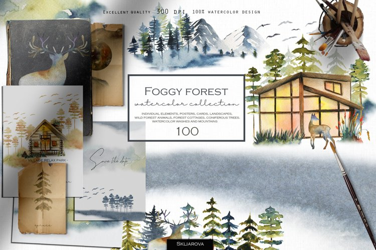 Foggy forest watercolor collection.